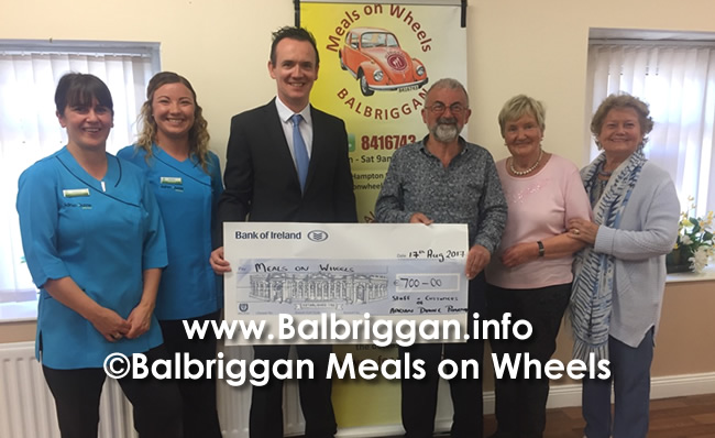 Adrian Dunne Pharmacy present cheque to Balbriggan Meals on Wheels 17aug17