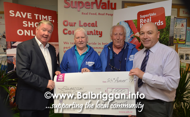 Luke Moriarty, SuperValu Balbriggan owner,  Cora Neilis annd Tom Quinlan, Balbriggan Cancer Support Group and Brian Carrick, Store Manager