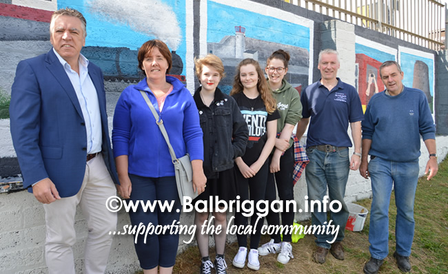 Cllr Tony Murphy, Cllr Grainne Maguire,  Lauryn Flynn, Hannah Dunn, Shauna Martin with Terry O'Reilly and Joe Troy from Balbriggan Tidy Towns