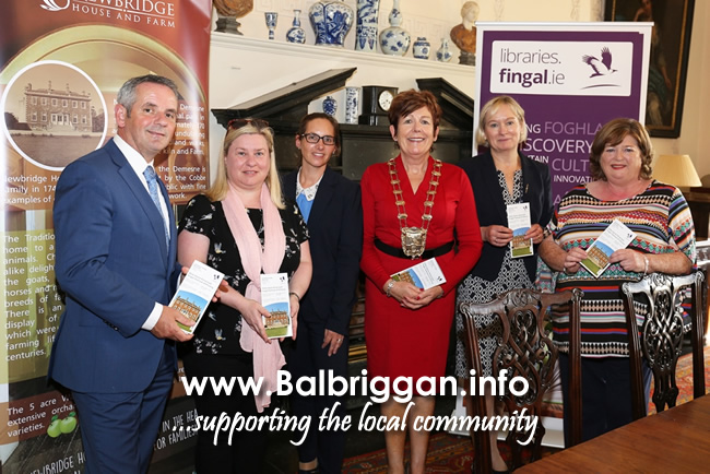 Paul Reid CE of Fingal, Helen O' Donnell & Susan Lovatt Fingal libraries, Mayor of Fingal Mary McCamley, County Librarian Betty Boardman,  Manager of Newbridge House Ann Brophy