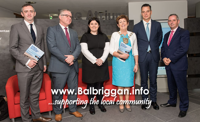 Fingal County Council's Director of Economic, Enterprise and Tourism Development, Ed Hearne, Chief Executive of Fingal Dublin Chamber of Commerce, Anthony Cooney, Alter Pharma Country Manager, Rita Crowley, Mayor of Fingal, Cllr Mary McCamley, Chief Executive of the daa, Dalton Philips and Fingal County Council's Chief Executive, Paul Reid at the launch of this year's Dublin Economic Monitor at The Atrium in County Hall, Swords.