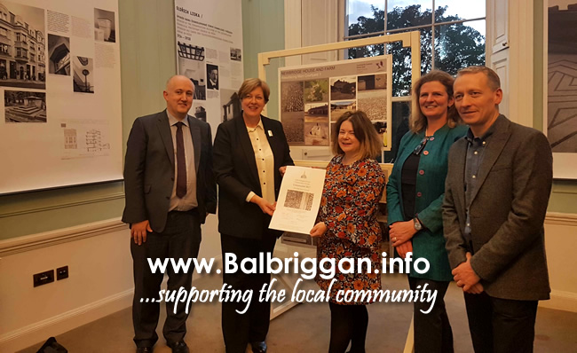 Senior Architect Pat Boyle, County Archtiect Fionnuala May, Project Architect Brid Ryan, Consulting Engineer Lisa Edden and Clerk of Works Gary Glennon at The Georgian Society Conservation awards.