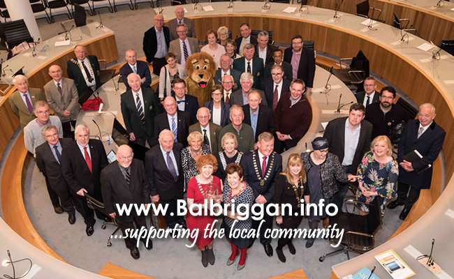 Lions Club District Governor Teresa Dineen, Mayor of Fingal Cllr Mary McCamley and President of the Swords District Lions Club, Seán Quigley with representatives of the six Fingal Lions Clubs and Fingal County Councillors in Fingal County Council Town Hall in Swords.