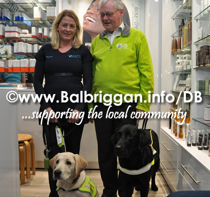 Tom O'Neill with Gatsby the guide dog, Rhona Tolan & Rhona puppy  in training