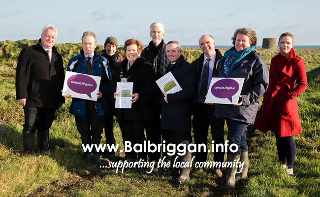Cllr Brian Dennehy, Fingal Heritage Officer Gerry Clabby, Fingal Conservation Officer Helena Bergin, Mayor of Fingal Cllr Mary McCamley, Cllr David O'Connor, Fingal Chief Executive Paul Reid, Senior Parks Superintendent Kevin Halpenny, Fingal Community Archaeologist Christine Baker, Sandra Henry from The Discovery Programme