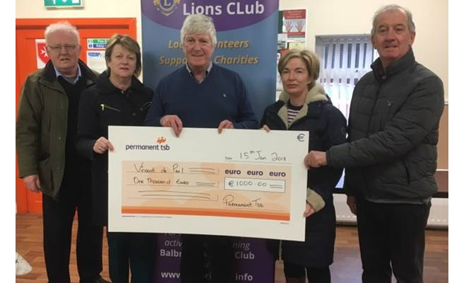 balbriggan lions club present cheque to st vincen de paul 30jan18