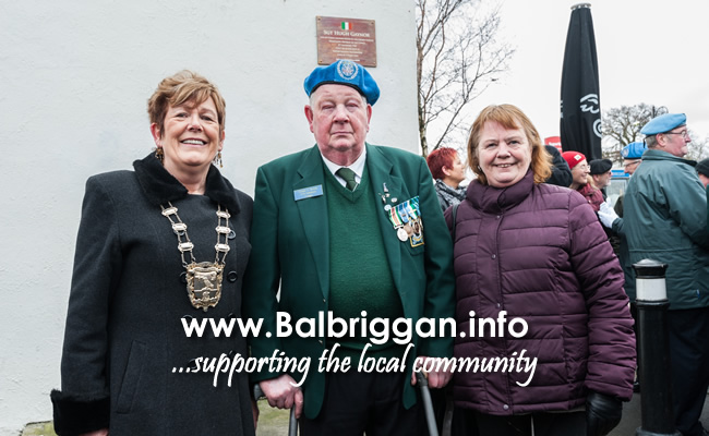 Mayor of Fingal Cllr Mary McCamley, Pte. Thomas Kenny, Survivor of Niemba Ambush, Sarah Tallon daugher of Sergeant Gaynor