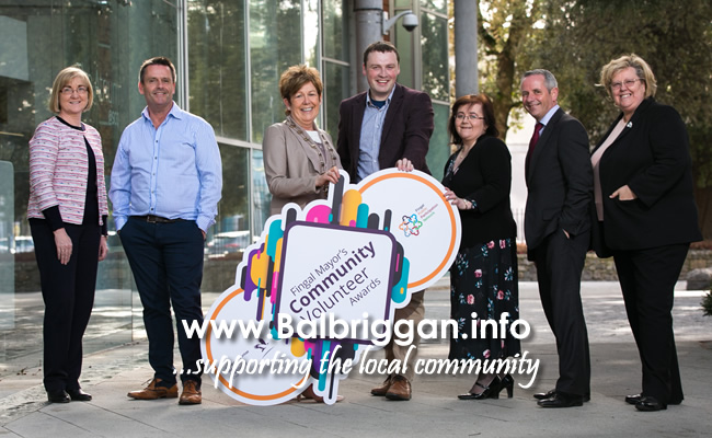 Senior Community Officer, Ide De Bairtiseil, RTÉ News newsreader, Aengus Mac Grianna, Mayor of Fingal, Cllr Mary McCamley, Public Participation Network Officer, Jamie Moore, Chief Executive of Fingal County Council, Paul Reid, Public Participation Network Officer Mary Harford and Principal Community Officer Pat Queenan  at the launch of the Mayor's Community Volunteer Awards in County Hall, Swords.