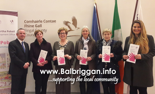 Fingal County Council Chief Executive Paul Reid, Clare O Hara of Lusk Summer Project, Mayor of Fingal, Cllr Mary McCamley with Audrey Weston, Mary Rooney and Katie Weston also of Lusk Summer Project.