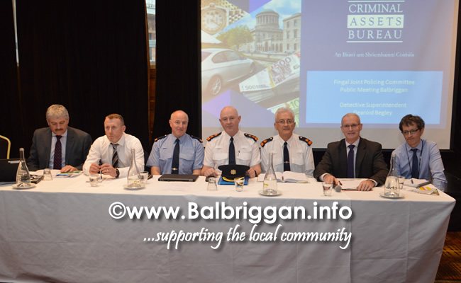 Detective Superintendent Gearóid Begley - Criminal Assets Bureau, Mick Carroll - Fingal County Council, Inspector Brian Downey, Chief Superintendent, Balbriggan District - Mark Curran , Superintendent Noel Carolan, Cllr Kieran Dennison and Conor O'Leary, Muintir na Tíre