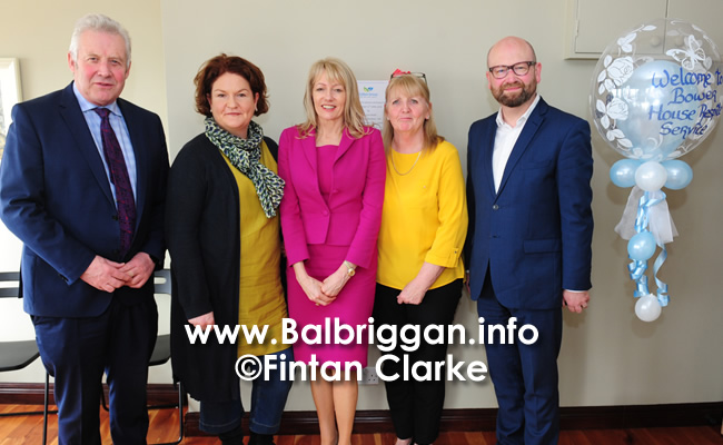 Fergus O'Dowd TD, Jacinta Walsh, Talbot Group CEO Laverne McGuinness, Mary McArdle and Senator Ged Nash at the opening of its Adult Respite Service, Bower House in Balbriggan