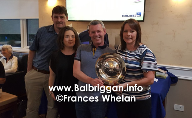 Donal Richardson, Olivia Richardson , Barry Richardson presenting the prize to Nicola Campbell