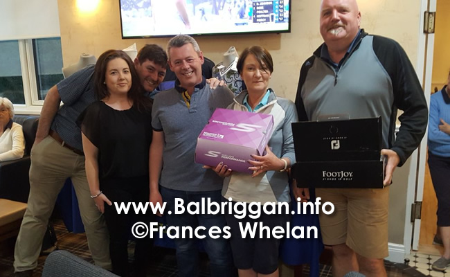 Barry Richardson, Olivia Richardson and Donal Richardson presenting the prize to Orla & Peter Sullivan