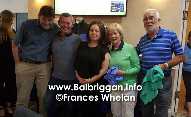 Donal Richardson, Barry Richardson, Olivia Richardson presenting the prize to Miriam & Brian Murphy