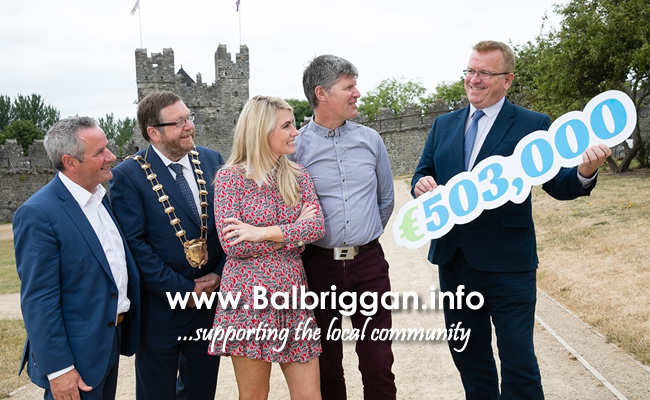 Chief Executive of Fingal County Council Paul Reid, Mayor of Fingal Cllr Anthony Lavin, Sarah Jane Brangam, Piranha Beverages T/A Cult Drinks and Billy Griffin, Artisan Solutions Ltd who both received a Business Expansion Grant and Oisín Geoghegan, Head of Enterprise, Fingal.