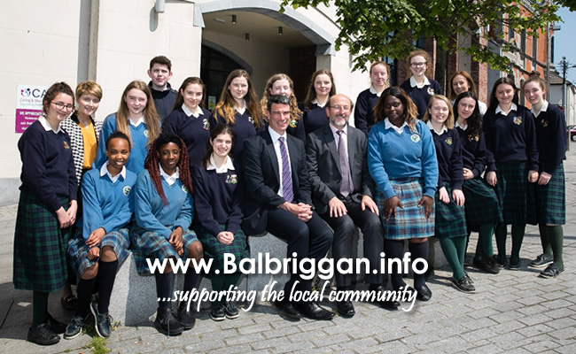 Students from Ardgillan Community College and Loreto Secondary School and their teachers Katie Patton (Ardgillan) and Geraldine Barnett (Loreto) pictured with Brian MacCraith, Chairman of the Balbriggan Leadership Group, and Coilin O'Reilly of Fingal County Council's Economic Enterprise and Tourism Development Department at the announcement that 39 places on this summer's Groove School at DCU have been made available to Balbriggan students
