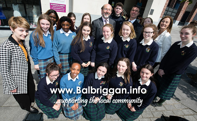 Students from Ardgillan Community College and Loreto Secondary School and their teachers Katie Patton (Ardgillan) and Geraldine Barnett (Loreto) pictured with Brian MacCraith, Chairman of the Balbriggan Leadership Group, at the announcement that 39 places on this summer's Groove School at DCU have been made available to Balbriggan students.
