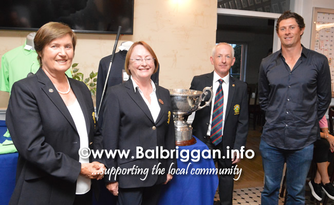 Muriel Ennis, President Balbriggan Golf Club,  Beatrice Magee - Lady Captain, Tony Hamilton - Captain and Robbie Cannon, 2018  Irish Amateur Close Champion