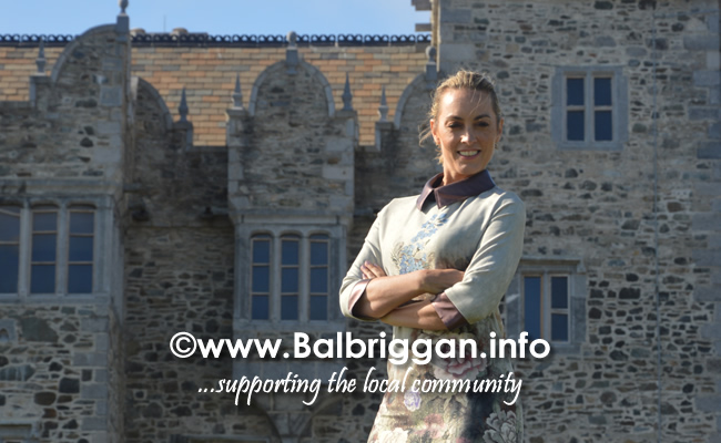 Presenter Kathryn Thomas outside Bremore Castle in Balbriggan