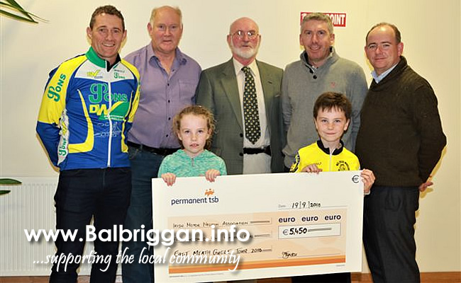 John Hynes, Larry McGrane Drogheda Wheelers, Peter Devine (Local IMNDA Ambassador), Brendan Traynor (MD Panda Power, Main Sponsor ), Eugene Mclaughlin East Meath Cycle Tour  Front row :   Marie and Dylan Traynor