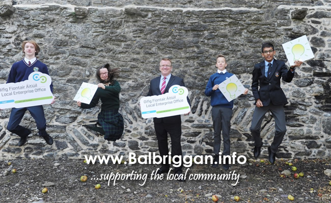 Head of Fingal's Local Enterprise Office, Oisin Geoghan with last year's Student Enterprise Programme Winners at the launch of the Student Enterprise Programme at Swords Castle