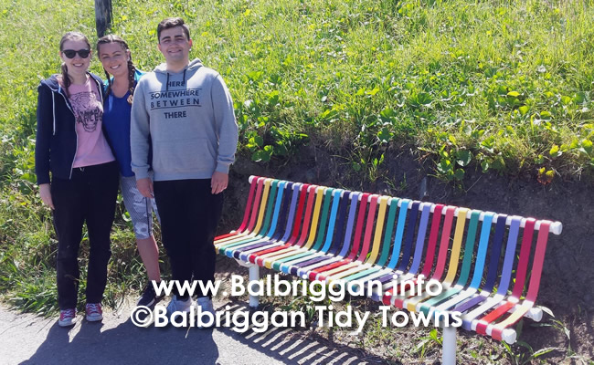 "Sinead, Ben and Shauna and their ""Mindfulness bench."