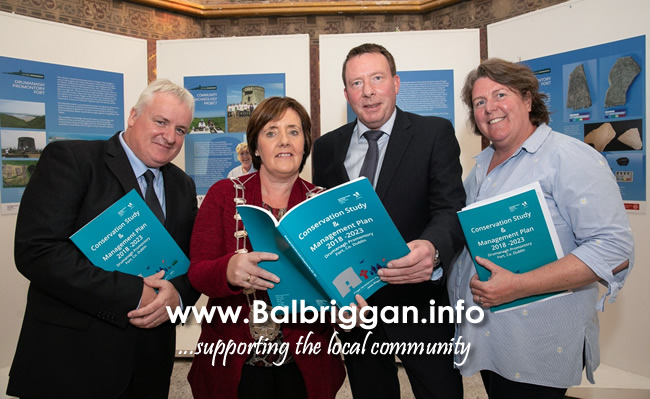 Fingal County Councillor Brian Dennehy, Deputy Mayor of Fingal, Cllr Grainne Maguire, Chief Archaeologist Michael McDonagh and Fingal's Community Archaeologist Chritstine Baker at the launch in Rush Library.