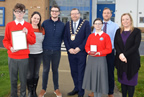 Colaiste Ghlor na Mara students present medal to mayor of fingal 26nov18 smaller