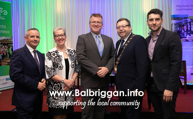 "Fingal County Council Chief Executive Paul Reid, Ann McGee, Managing Director, MIAS Pharma, Head of Enterprise in Fingal Oisin Geoghegan, Mayor of Fingal Cllr Anthony Lavin, and Dublin GAA star and entrepreneur Bernard Brogan at the LEO Fingal business breakfast on ""Hiring and Holding onto the Best Staff for Your Business""."