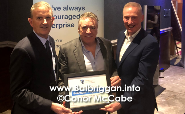 Maurice O'Halloran & Tony Murphy join president John Cumisky, Balbriggan chamber, celebrating The towns recent success at the Bank of Ireland national enterprise town awards.
