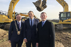 Alan Farrell TD, Cllr Anthony Lavin & An Taoiseach, Leo Varadkar at turning of sod for North Runway smaller