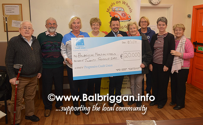 balbrigan meals on wheels receive cheque from progressive credit union 07nov19