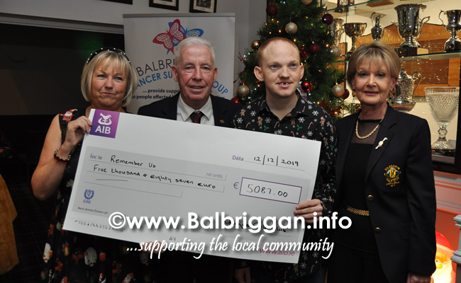 Balbriggan golf club present cheques to Remember us and Balbriggan Cancer Support Group 14dec19