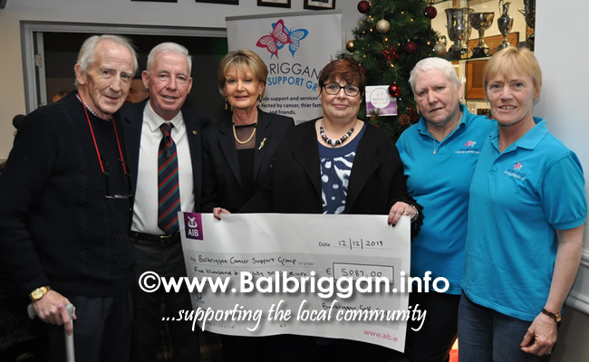 Balbriggan golf club present cheques to Remember us and Balbriggan Cancer Support Group 14dec19_2