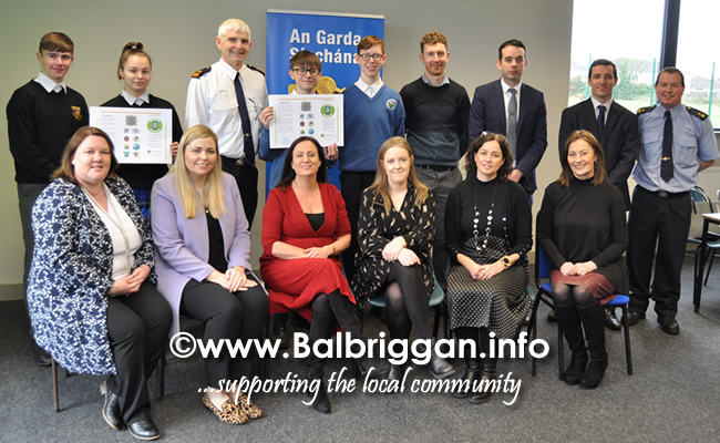 Launch of Online Safety Leaflet for Secondary Schools Children and Parents in Balbriggan 28feb20