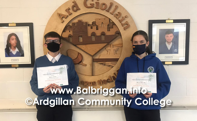 Double achievement for Ardgillan Community College students William and Marcela 12sep20