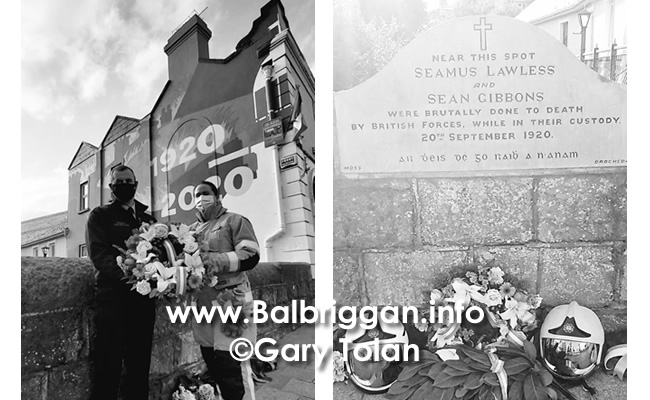 Fire fighters from Balbriggan laid a wreath at the memorial of Sean Gibbons and Seamus Lawless