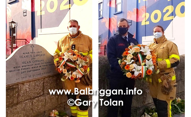 Fire fighters from Balbriggan laid a wreath at the memorial of Sean Gibbons and Seamus Lawless_2