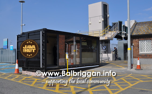 java the hut new container coffee shop at Balbriggan Train Station
